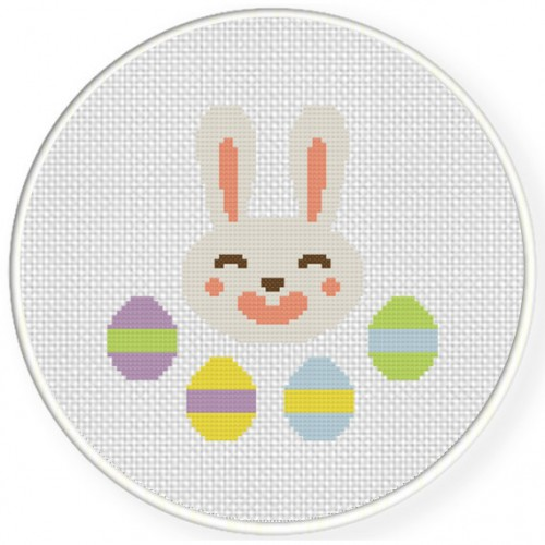 Easter Egg Bunny Cross Stitch Illustration