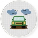 Green Car Cross Stitch Illustration