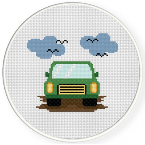 charts club members only green car cross stitch pattern