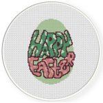 Happy Easter Egg Cross Stitch Illustration