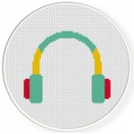 Headphone Cross Stitch Illustration
