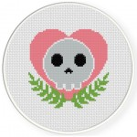 Heart Skull Cross Stitch Illustration