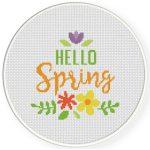 Hello Spring Decorative Cross Stitch Illustration