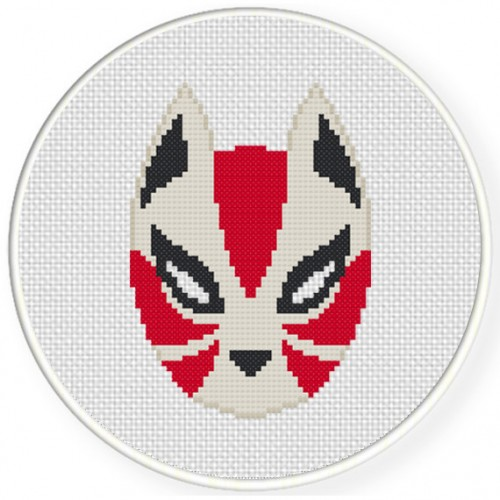 Kitsune Mask Cross Stitch Illustration
