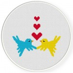 Lovebirds Cross Stitch Illustration