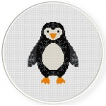Penguin Snow Pattern Cross Stitch Illustration
