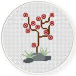 Pretty Abstract Tree Cross Stitch Illustration