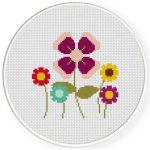 Pretty Simple Flowers Cross Stitch Illustration
