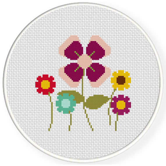 Charts club members only pretty simple flowers cross stitch pattern charts club members only pretty simple flowers mightylinksfo