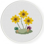 Sunflowers And Mushrooms Cross Stitch Illustration