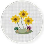 Sunflowers And Mushrooms Cross Stitch Illustration