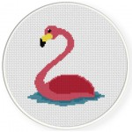 Swimming Flamingo Cross Stitch Illustration