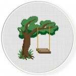 Swing By The Tree Cross Stitch Illustration