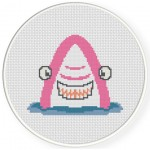 The Great Pink Shark Cross Stitch Illustration