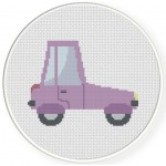 Violet Car Cross Stitch Illustration