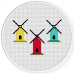 Windmills Cross Stitch Illustration