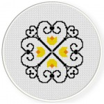Wrought Iron Floral Cross Stitch Illustration