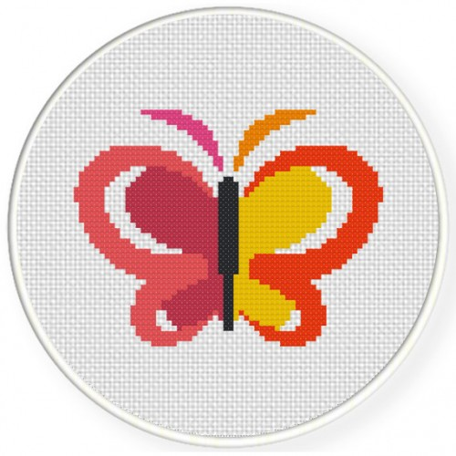 Abstract Butterfly Cross Stitch Illustration