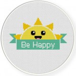 Be Happy Banner Cross Stitch Illustration