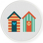 Beach Houses Cross Stitch Illustration
