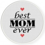 Best Mom Ever Cross Stitch Illustration