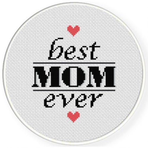 Best Mom Ever Cross Stitch Illustration