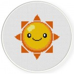 Happy Sun Cross Stitch Illustration