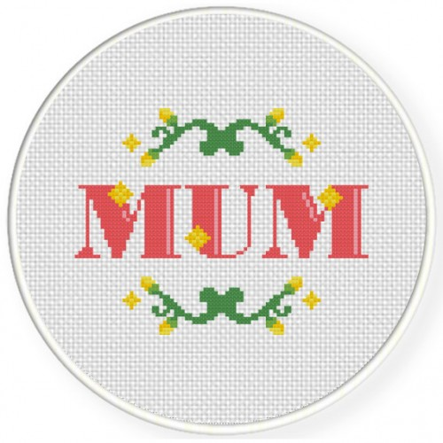 I Heart Mum Cross Stitch Illustration