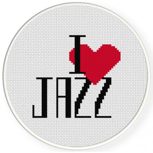 I heart Jazz Cross Stitch Illustration