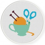 Knit In A Cup Cross Stitch Illustration