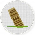 Leaning Tower of Pisa Cross Stitch Illustration