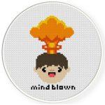 Mind Blown Cross Stitch Illustration