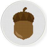 Oak Nut Cross Stitch Illustration