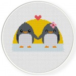 Penguin Lovers Cross Stitch Illustration