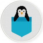 Pocket Penguin Cross Stitch Illustration
