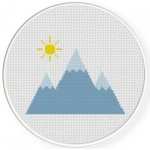 Pointy Mountains Cross Stitch Illustration