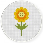 Pretty Orange Flower Cross Stitch Illustration