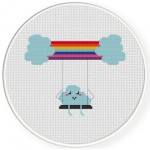 Rainbow Swing Cross Stitch Illustration