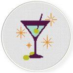 Retro Martini Cross Stitch Illustration