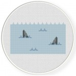 Shark Attack Cross Stitch Illustration