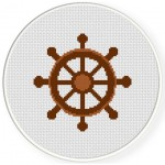 Ship Wheel Cross Stitch Illustration