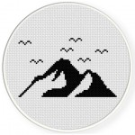 Simple Mountains Cross Stitch Illustration