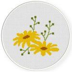 Spring Yellow Flower Cross Stitch Illustration