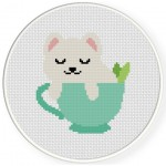 Teacup Kitten Cross Stitch Illustration