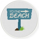 To The Beach Sign Cross Stitch Illustration