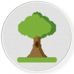 Tree On A Grass Cross Stitch Illustration