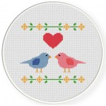 Two Love Birds Cross Stitch Illustration