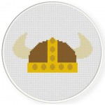 Viking Helmet Cross Stitch Illustration