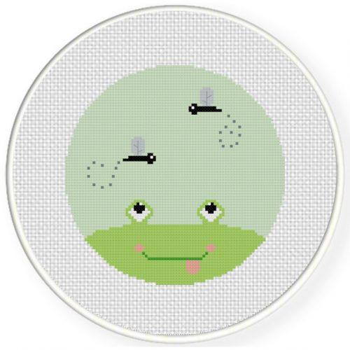 Yum Frog Cross Stitch Illustration
