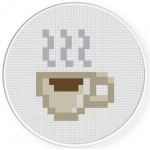8-Bit Coffee Break Cross Stitch Illustration
